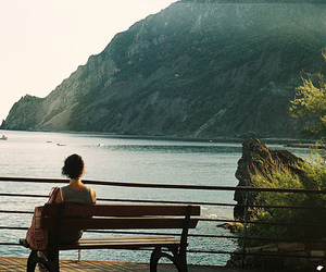 girl, landscape, and ocean image