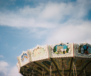 beautiful, carousel, and clouds image