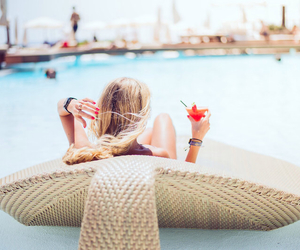 summer, girl, and drink image