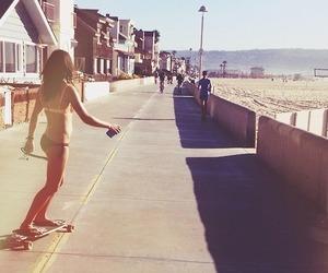 beach, skateboard, and girl image