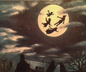 peter pan, disney, and moon image