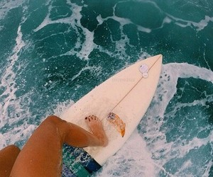 beach, surfboard, and water image