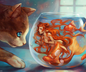 cat, girl, and goldfish image