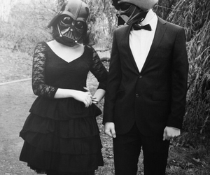 couple, black and white, and darth vader image