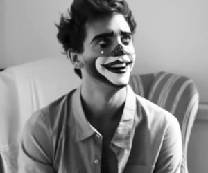 black and white, clown, and cry image