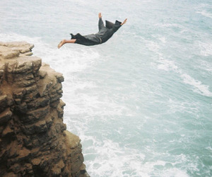 sea, jump, and ocean image