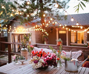 light, flowers, and house image
