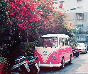 pink, car, and flowers image