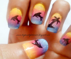 nails, dolphin, and summer image