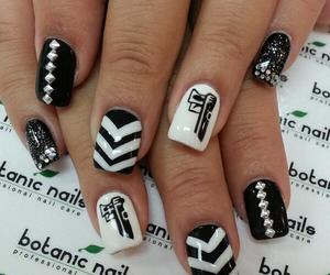 black and white, nails, and stripes image