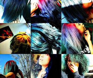 blue hair, dyed hair, and pink hair image
