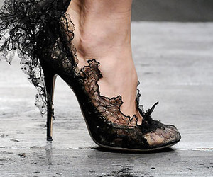 black, lace, and shoes image