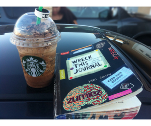 starbucks, wreck this journal, and summer image
