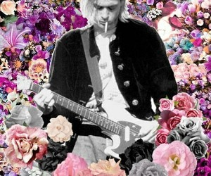nirvana, kurt cobain, and flowers image