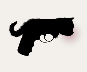 cat, gun, and black and white image