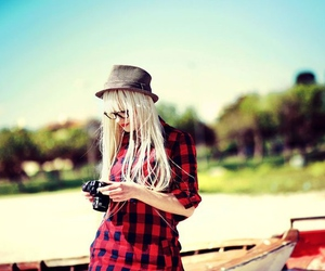 girl, hat, and camera image