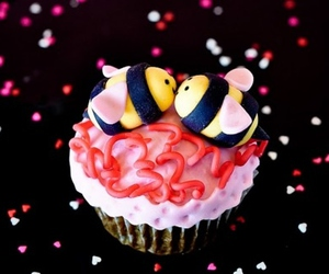 bumble bee, cupcake, and pink image