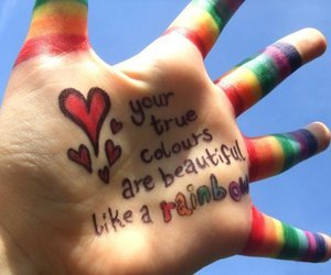 rainbow and hand image