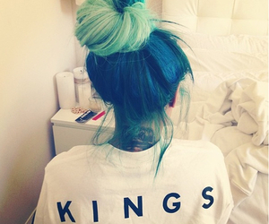 hair, king, and blue image