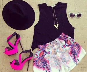 black, pink, and summer image