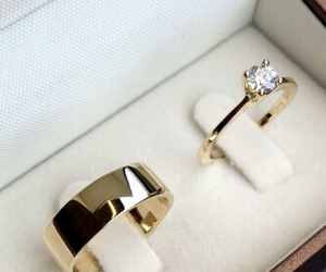 rings, wedding, and gold image