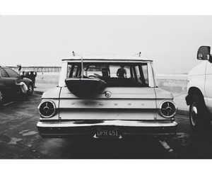 car, black and white, and beach image