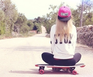 girl, obey, and skateboard image