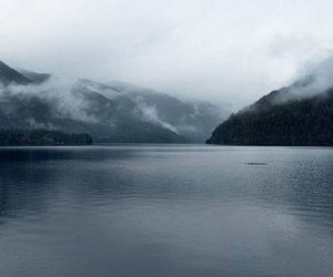 fog, mountain, and water image