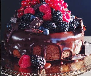 chocolate, raspberry, and cake image