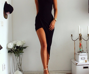 dress, heels, and flowers image
