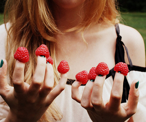 blond, girl, and strawberry image