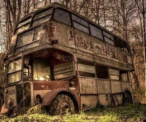 abandoned, bus, and old image