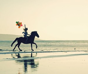 horse, balloons, and beach image