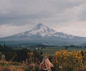 girl, flowers, and mountains image