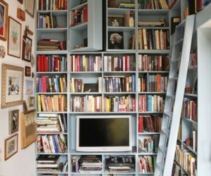 bookcase, hidden, and books image