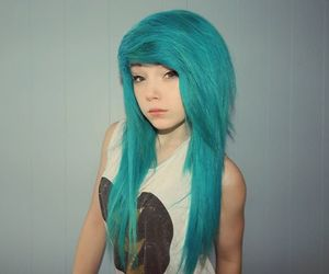 blue hair, dyed hair, and mermaid hair image