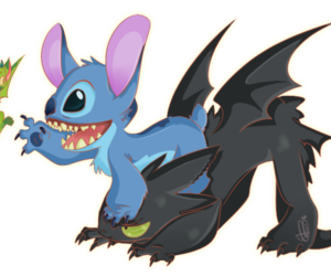 dragon, stitch, and toothless image