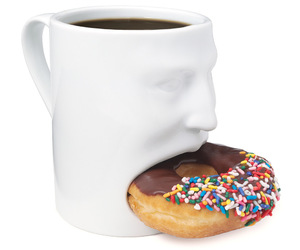 donuts, mug, and coffee image