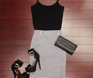 outfit, black, and heels image