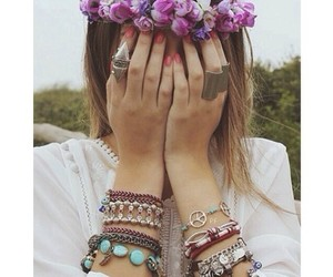 flowers, girl, and rings image