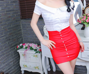 red, skirt, and fashion image