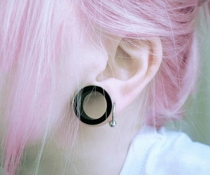 piercing, hair, and Plugs image