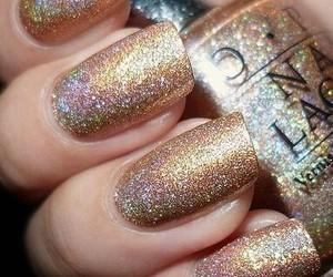 nails, nail polish, and gold image