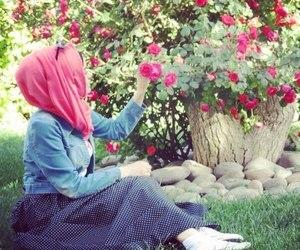 hijab and flowers image