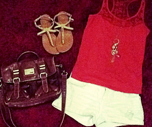 coral, necklace, and sandals image