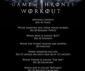 game of thrones, workout, and exercise image