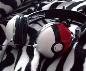 pokemon, headphones, and pokeball image