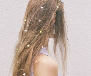 hair, stars, and grunge image