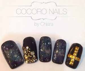 nail, nails, and starry night image
