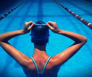 swimmer, pool, and summer image